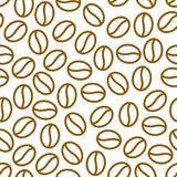 Coffee beans seamless pattern, vector background. Repeated. Light brown texture for cafe menu, shop wrapping paper. Flat line icons Stock Photo