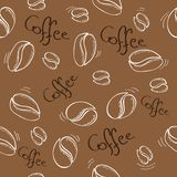 Coffee beans seamless pattern - vector illustration Stock Photography