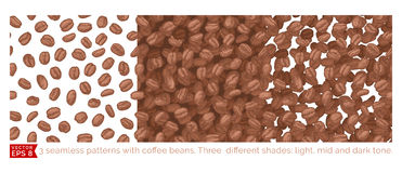 3 coffee beans seamless pattern Royalty Free Stock Images