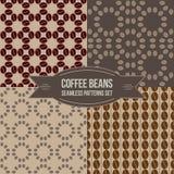 Coffee beans seamless patterns set. Set of four seamless coffee beans patterns set. For any use vector illustration