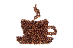 Coffee beans in the shape of the cup Royalty Free Stock Images