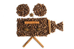 Coffee. Beans in the shape of a film camera Stock Image