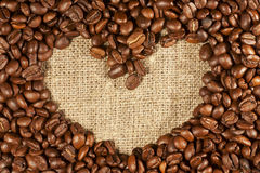 Coffee beans in the shape of heart Stock Photography
