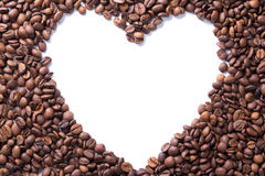 Coffee beans in the shape of a heart Royalty Free Stock Photography