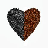 Coffee beans shape of heart background Royalty Free Stock Photo