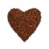 Coffee beans shape of heart background Royalty Free Stock Image