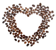 Coffee beans in the shape of a heart isolated Royalty Free Stock Photo