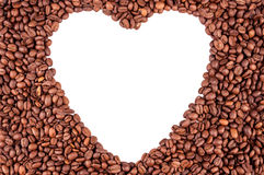 Coffee beans in shape heart. Coffee beans with white heart inside Stock Photography