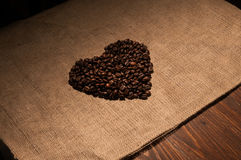 Coffee beans in the shape of a heart Stock Photos