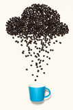 Coffee beans in shape of rainy cloud with blue cup on white back Stock Photo