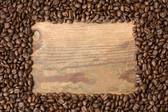 Coffee beans shaped as a frame Royalty Free Stock Photos