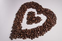 Coffee Beans Shaped Into Heart royalty free stock photography