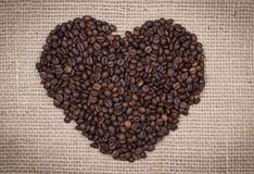 Coffee beans shaping a heart Stock Image