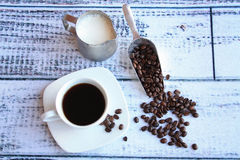 Coffee and beans with shovel over view Stock Photography