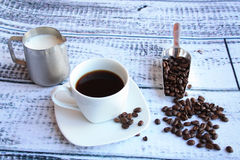 Coffee and beans with shovel side view Stock Image