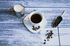 Coffee and beans with shovel side view Royalty Free Stock Image