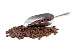 Coffee beans  and a  silver scoop on white Royalty Free Stock Photos