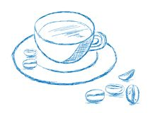 Coffee and Beans Sketch - Vector. Illustration Stock Photos