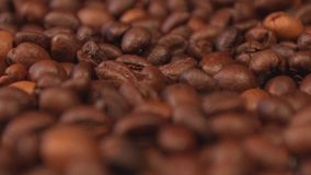Coffee beans. Slow motion pan. Close-up. 2 shots stock footage