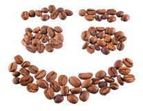 Coffee beans. Smiling coffee beans isolated on a white background Stock Images