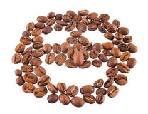 Coffee beans. Smiling coffee beans isolated on a white background Stock Image