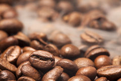 Coffee beans and smoke Stock Photography