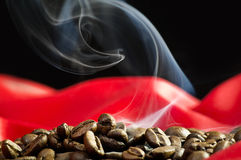 Coffee beans smoked Stock Photo