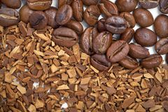 Coffee beans and soluble coffee Royalty Free Stock Image