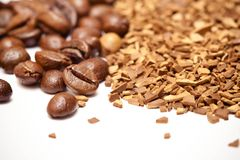 Coffee beans and soluble coffee Royalty Free Stock Photo