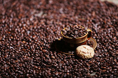 Coffee beans and some dessert. One macaron cake royalty free stock image