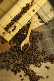 Coffee beans. Some coffee beans in the kitchen interior Stock Photo