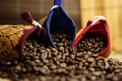 Coffee beans. Some coffee beans in the kitchen interior Royalty Free Stock Images