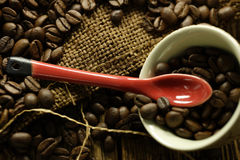 Coffee beans. Some coffee beans in the kitchen interior Royalty Free Stock Photos