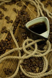Coffee beans. Some coffee beans in the kitchen interior Royalty Free Stock Photography
