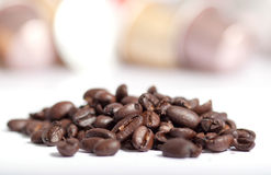 Coffee beans. Some coffee beans on white background Stock Photography