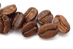 Coffee Beans. Some Coffee Beans on white background. close-up royalty free stock image