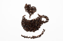 Coffee Beans. Sorting to cup of coffee beans stock photography