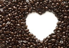 Coffee beans with space in heart shape Stock Image