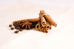Coffee beans and spices. Cinnamon, anise and coffee beans royalty free stock photo