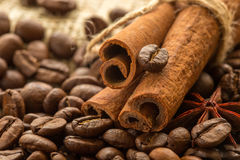 Coffee beans, spices and cinnamon star anise Royalty Free Stock Photo