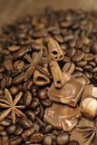 Coffee beans with spices and hazelnuts chocolate stock images