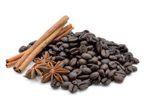Coffee beans with spices Stock Photography