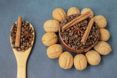 Coffee grains and walnut stock photo