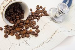 Coffee beans spilled from c and scattered on paper ECG near medical stethoscope. Effect of coffee and caffeine on cardiovascular s. Ystem, heart rate, function Royalty Free Stock Photos