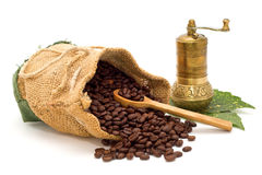 Coffee beans spilled out of the bag with wooden spoon and coffee grinder on green leaves Royalty Free Stock Image
