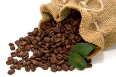 Coffee beans spilled out of the jute bag Stock Photography