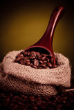 Coffee beans spilling Stock Image