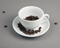 Coffee beans spilling out from a coffee cup on gray background. Stock Image