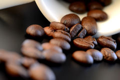 Coffee. Closeup of coffee beans spilling out of a white cup or mug Royalty Free Stock Images