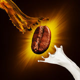 Coffee beans and a splash of coffee and milk Stock Photography